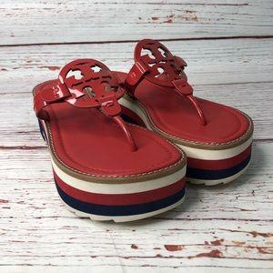 Tory Burch Miller Platform Leather Thong Sandals